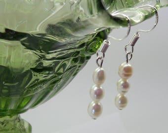 Pearl Sterling Silver Earrings/Dangle Earrings/Wedding Earrings/Bride  /Bridesmaid/June Birthstone/Gift for Her/Anniversary/Mom/
