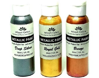 Set of 3 Premium Acrylic Metallic Paints finish and patina for art and craft gold, silver and Bronze