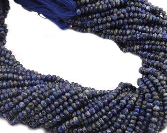 natural lapis lazuli gemstone faceted roundel rondelle beads