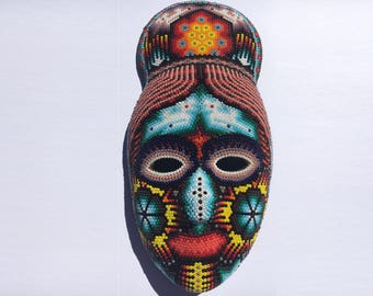 Huichol Hand Beaded Mexican Mask