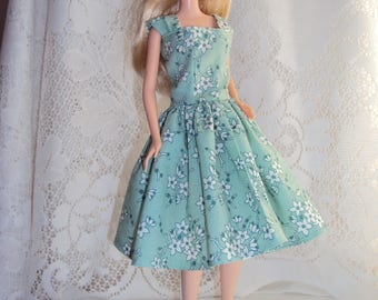 Cotton Barbie dress 60's style w/ cap sleeves, handmade