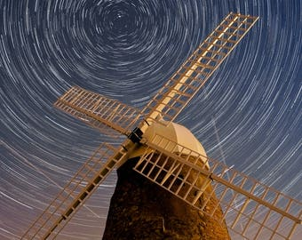 Halnaker Windmill - Fine Art Framed Gallery Print - Night time / long exposure / star trail / Sussex / photography