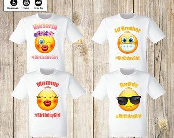 Emoji Iron On Transfers family set Personalized Birthday Girl Emoji t-shirts iron on transfers Emoji iron on transfers. Digital images only.