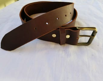 Men's Leather Belt with Solid Brass Roller Buckle