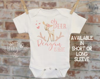 Oh Deer Customized Onesie, Personalized Baby Outfit, Custom Baby Clothes, Baby Shower Gift, Cute Baby Outfit, Funny Onesie, Deer Puns - 312O