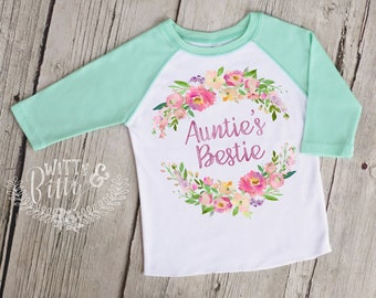 Auntie's Bestie Kids Raglan Baseball Shirt, Gift From Auntie, Gift for Niece, Green Girls Baseball Tee, Girls Raglan Shirt - R426A