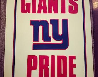 "NY Giants Pride Aluminum Sign 12x18"""