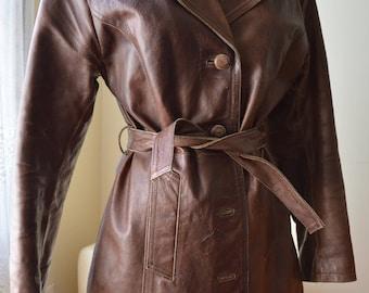 Cinnamon Girl Coat ~ Vintage brown leather Coat