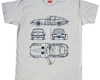 Jaguar E type gray tshirt vintage classic car british motorsport