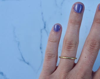 Hammered Gold Ring, Stackable Gold Ring
