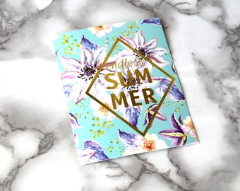 Beautiful Summer Vibes Boho Blank Card, Floral French Theme Postcard, Retro Card Gifts, Birthday Gifts For Her, Gold Foil Text Card, Planner