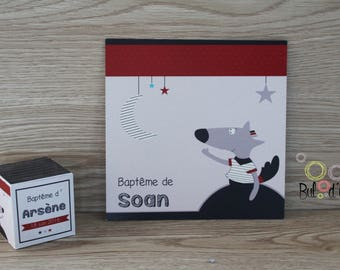 Set christening Mister Boo - Invitation + box of sweets
