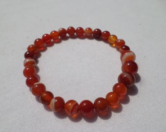 Red Banded Agate 6mm and 8mm round stones on Stretch Jewelry Cord  Fits 7' wrist