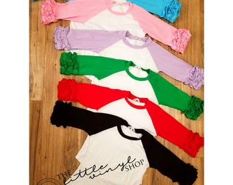 Ruffle Icing Raglan Baseball Tee Shirt - White Body - Blank Wholesale Embroidery HTV - In Stock