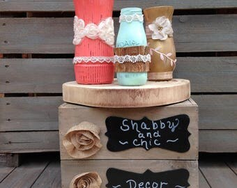 Centerpiece on Wood Tree Slice, Coral, Mint and Gold Shabby Chic Painted Vases Set