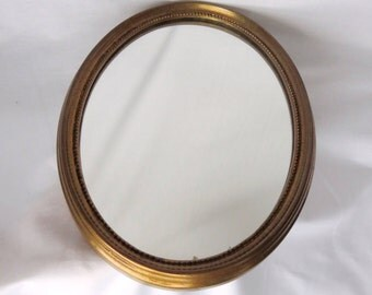 Vintage Oval Hanging Mirror, Wooden Frame, Home Decoration