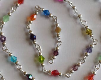55cm of string/bicones 4mm multicolored glass