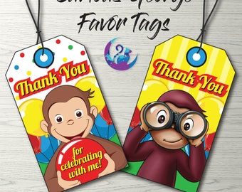 Curious George Favor Tags, Curious George Tags, Curious George Party Decoration, Curious George Birthday Party Printable Tags, Favor Tags
