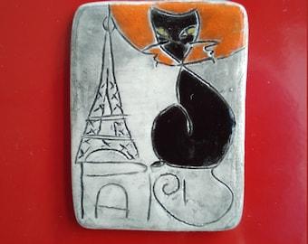 Magnet frigo Paris Tour Eiffel chat