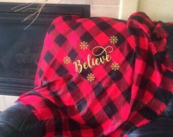 Buffalo Plaid Christmas Throw Blanket, Holiday Decor, Believe, Snowflakes