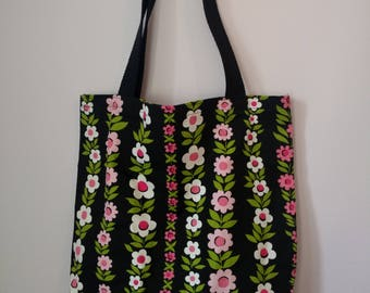 Medium Canvas Tote Bag - Rows of Flowers Pattern
