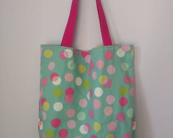 Medium Canvas Tote Bag - Pink Polka Dots Pattern