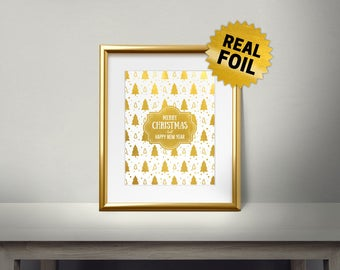 Christmas Tree Pattern, Real Gold Foil Print, Merry Christmas And Happy New Year, 2018, Gold Wall Art, Decor, Holiday Decoration, Ornament