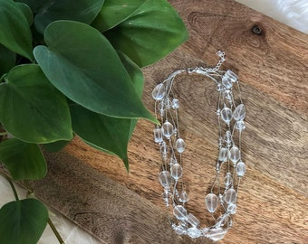 layered clear beaded necklace   multi strand