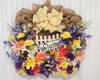 spring floral wreath, welcome wreath, floral wreath, picket fence wreath, burlap wreath, burlap floral wreath, colorful spring wreath