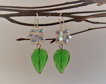 Flower and Leaf Dangle Earrings on French Ear Wires