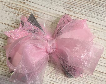 Light Pink and Silver Lace hair bow, pink hair bow, pink hairbow, pink hair clip, Pink and silver hair bow, Lace hair bow, Pink organza bow