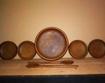 Vintage Wooden Bowl Salad Set