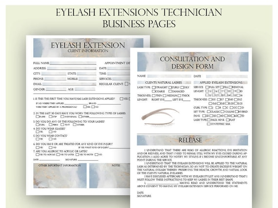 Eyelash Extension Client Forms Printable Client Information