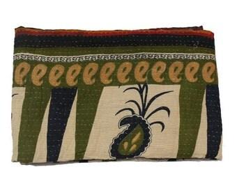 vintage Kantha Quilt Gudri Reversible Throw Handmade Quilt Blanket VQ30