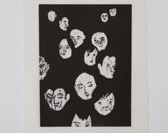 Faces woodcut print