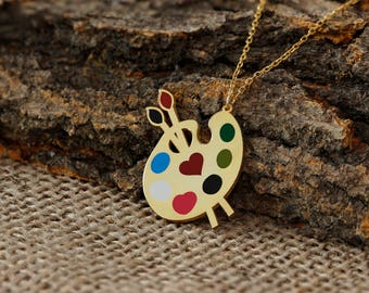 Paint Palette Necklace, Painting, Art, Gold, Rose, Silver, Gift