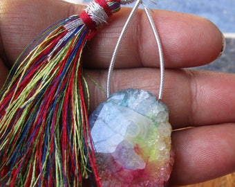 Multi Colour Solar Quartz Smooth Slice Shape Beads , Gemstone Beads ,  At factory price #(KH409)