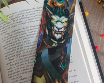 World of warcraft bookmark, warcraft wolf bookmark, gift for readers, gift book reading, warcraft illustration, video game art, geek art