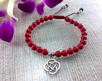 Red Coral Bracelet, Mala Bracelet, yoga bracelet, Chakra healing mala, prayer beads, gemstone bracelet, Tibetan pendant bracelet