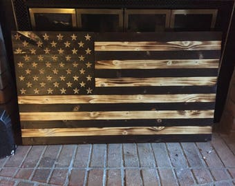 Charred (Subdued) Wooden American Flag