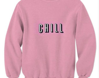 3D Sweatshirts CHILL Letter Sweats Love Pink Crewneck Hoodie Women/Men Casual Streetwear Tops Outfits Clothing