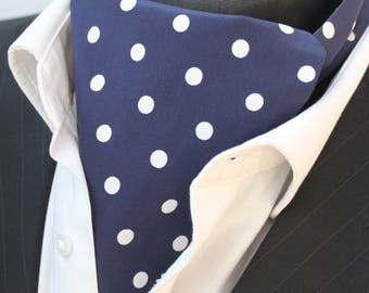 Cravat Ascot UK Made Navy Blue & White Polka Dot. Cravat Hanky.Premium Cotton.