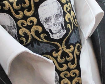 Cravat Ascot Steampunk Gothic/Punk Skull Cravat 2 / Hanky.Premium Cotton UK MADE