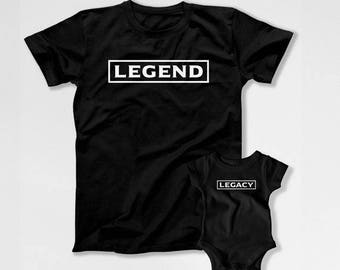 Matching Father And Baby T Shirts Daddy And Son Gifts Dad And Daughter Tops Daddy And Me Clothing Father's Day Legend Legacy TEP-276-277