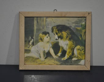 """Vintage Framed """"Can't You Talk?"""" Print - Girl with Dog"""