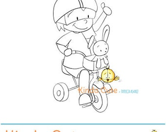 Boy riding a tricycle (black/white only). Instant download. Digital stamps with boys. Boy digital stamp. Digistamp. Niño y triciclo.