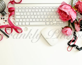 Pink & Black Desk Styled Stock Photo / Styled Stock Photography / Feminine Flatlay / Stock Images / Desktop Mockup /  Frankly Photos File #8
