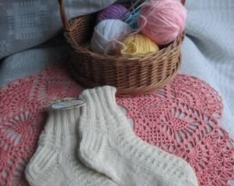 Hand-Knitted Wool Socks for Children