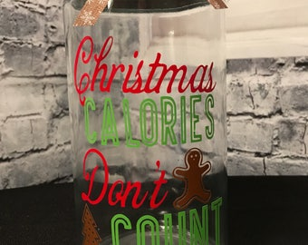 Christmas Calories Don't Count Glass Jar