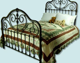 antique brass bed full double warm patina